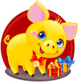 yellow earthy pig for new year 2019 vector image vector image