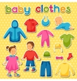 Baby clothes Set of clothing items for newborns vector image