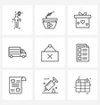 9 universal line icon pixel perfect symbols of vector image vector image