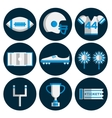 american football flat icon set vector image vector image