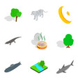 animal place icons set isometric style vector image vector image