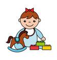 baby girl rocking horse blocks toys vector image