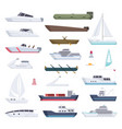 boats water sea or ocean vessel small and big vector image vector image