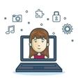 cartoon girl laptop screen design vector image vector image