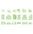 city icons set buildings transport trees vector image vector image
