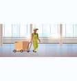 courier in uniform pushing trolley with cardboard vector image vector image