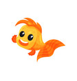cute smiling goldfish funny fish cartoon vector image
