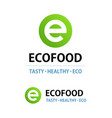 eco food logo isolated on white round emblem vector image vector image