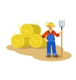 Farmer man standing with pitchfork vector image vector image
