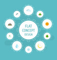 flat icons sky eco energy isle beach and other vector image vector image