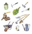 garden or garage instruments or tools watercolor vector image vector image