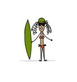 girl with surfboard sketch for your design vector image vector image