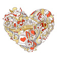 Gold red and white heart vector image