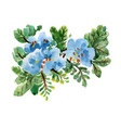 hand drawn blue flowers isolated on white vector image vector image