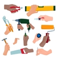 Hands with construction tools vector image vector image