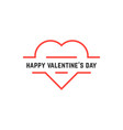 happy valentine day with thin line heart vector image vector image
