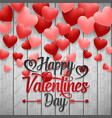 happy valentines day with red balloons heart vector image vector image