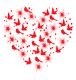 heart with birds vector image vector image