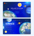landing page with solar system background vector image vector image