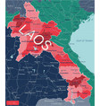 laos country detailed editable map vector image vector image