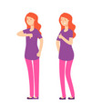 like dislike character happy an angry woman with vector image