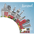 liverpool england city skyline with color vector image vector image