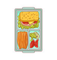 lunchbox with food for lunch - sandwich and vector image vector image