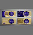 luxury gift voucher template collection set vector image vector image