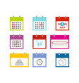 multicolored calendar icons set for web design vector image