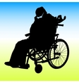 One handicapped man in wheelchair silhouette vector image vector image