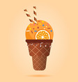 orange ice cream with wafer rolls in waffle cup vector image