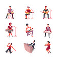 people playing musical instruments icons vector image vector image