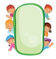 poster with young children looking out frame vector image