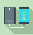 power bank charging smartphone icon flat style vector image