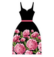 print for dress with pink peonies flowers vector image vector image