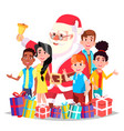 santa claus with children happy kids vector image