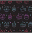 seamless desserts colorful pattern on black vector image vector image