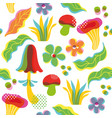 seamless pattern with leaves and mushrooms vector image
