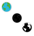 Set of planet earth icons in three versions- color
