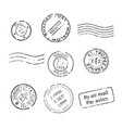 set of vintage style post stamps from countries vector image