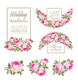 set of wedding invitation card the rose elegant vector image vector image