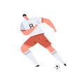 soccer or football player in uniform kicking ball vector image vector image