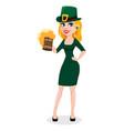 st patricks day woman in costume leprechaun vector image vector image