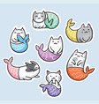 sticker set with cute kawaii cat mermaid vector image vector image