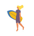 surfing girl isometric with surfboard blond vector image vector image
