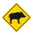 wild animals yellow rhombus road sign silhouette vector image vector image