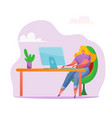 woman at desk remote work office job vector image