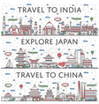 worldwide traveling posters in linear style vector image