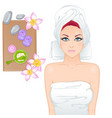 girl on spa treatments vector image
