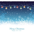 merry christmas happy new year card garland lights vector image
